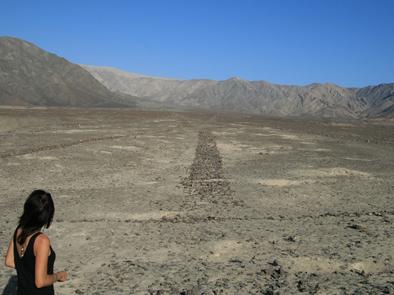 Bodenzeichnung in der Pampa von Nasca, Großes Trapez, PERU